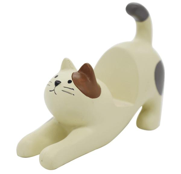 Katten Telefoonhouder bureau – Kattenbeeldje wit
