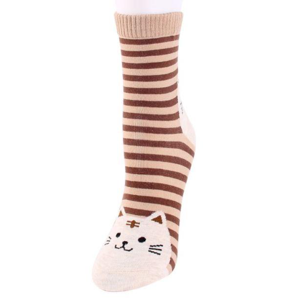 De bruine Gestreepte Sokken met Kattenprint