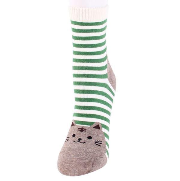 de groene Gestreepte Sokken met Kattenprint