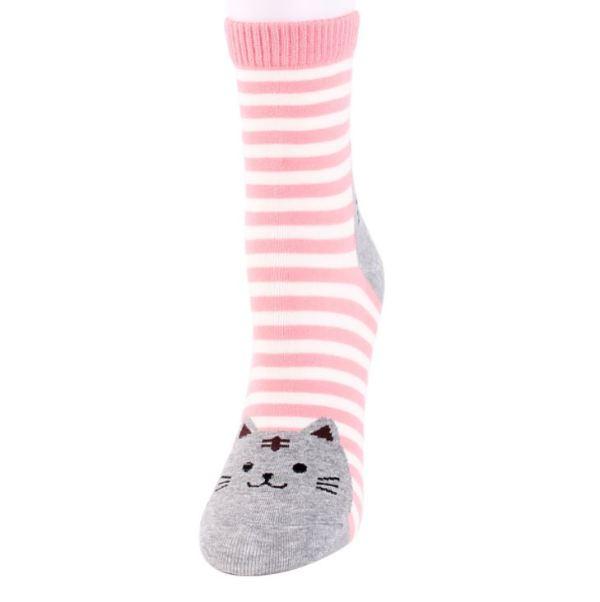 de roze Gestreepte Sokken met Kattenprint
