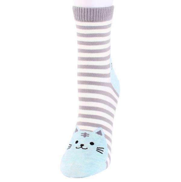 De grijze Gestreepte Sokken met Kattenprint