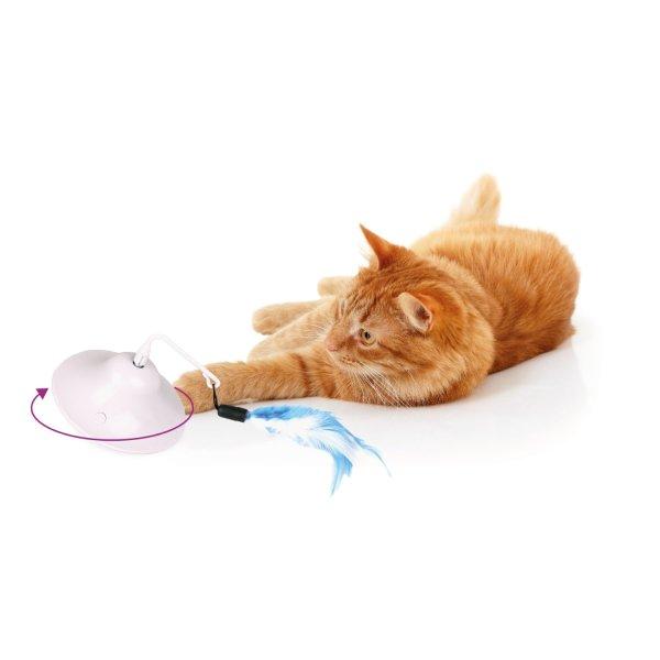 Kat speelt met Elektronisch Kattenspeelgoed met Veer