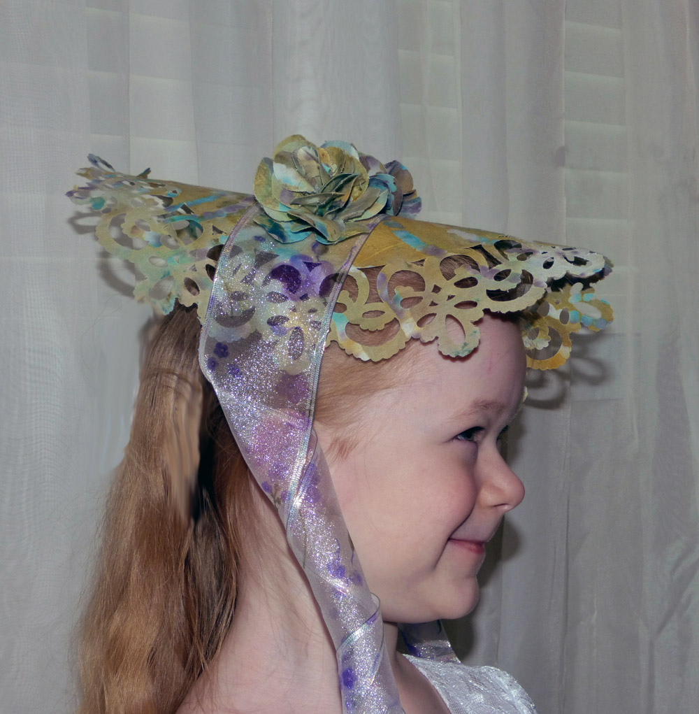 Fabric bonnet with 3D flowers