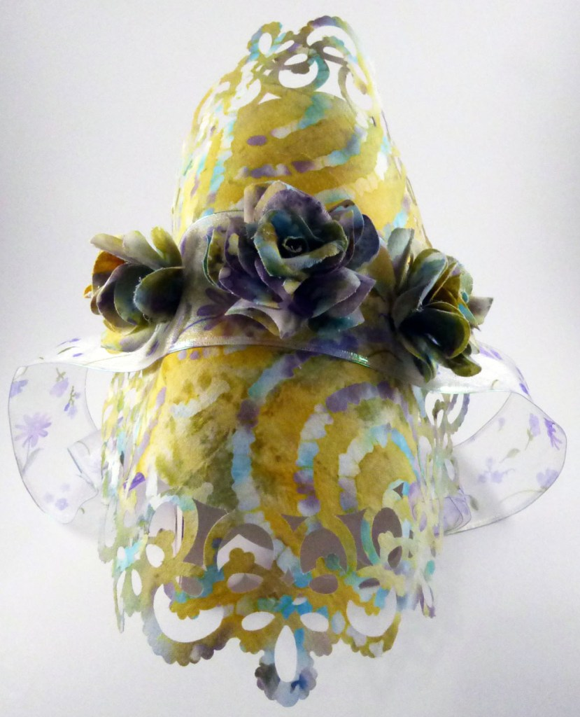 Doily Bonnet with 3D Fabric Flowers