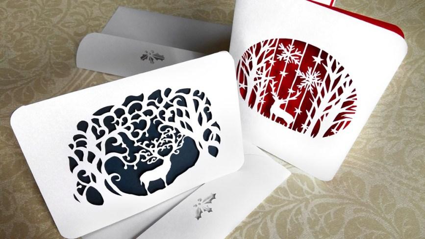 Kartu natal paper cutting rusa