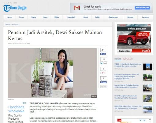 Cutteristic - Tribun Jogja 16 Maret 2015 Pensiun jadi Arsitek, Dewi Sukses Mainan Kertas