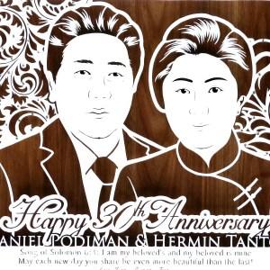 Sketsa wajah paper cutting untuk kado ulang tahun pernikahan/anniversary unik & eksklusif kepada sahabat, keluarga, teman kerja/kolega