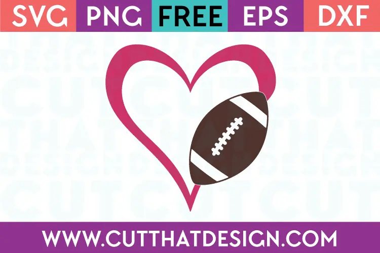 Download Free SVG Files | Football Heart Design 1 Cut That Design