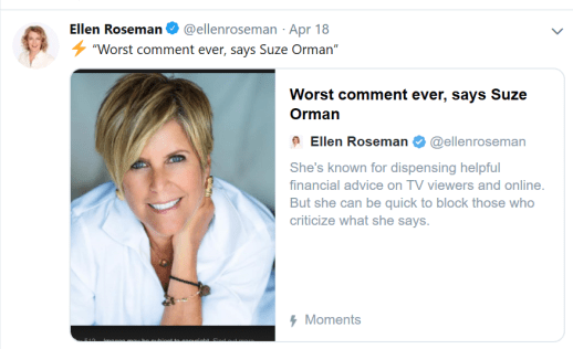 Suze Orman worst comment ever