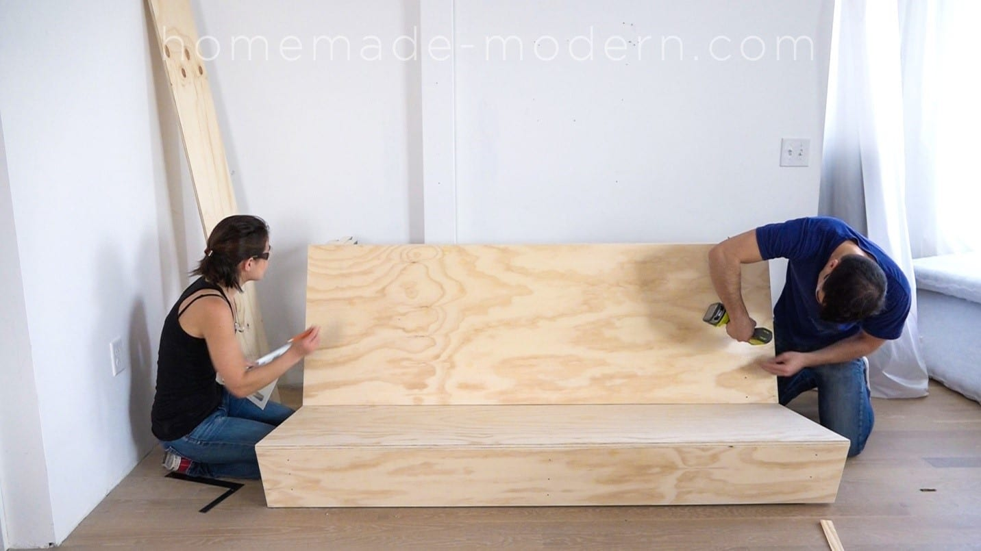 how to make a sofa bed from scratch leather curved build modern couch with table diy project  cut