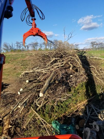 Our grapple truck has the capability of large commercial and government projects. Here we_re removing a brush pile with the grapple claw