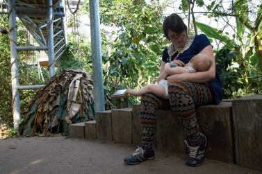 Awkwardly trying to sneak a feed at The Eden Project