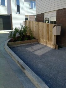 The final product – kerbs, landscaping and fencing