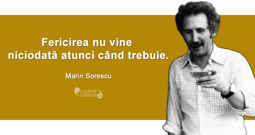 """""""Fericirea nu vine niciodată atunci când trebuie."""" Marin Sorescu"""