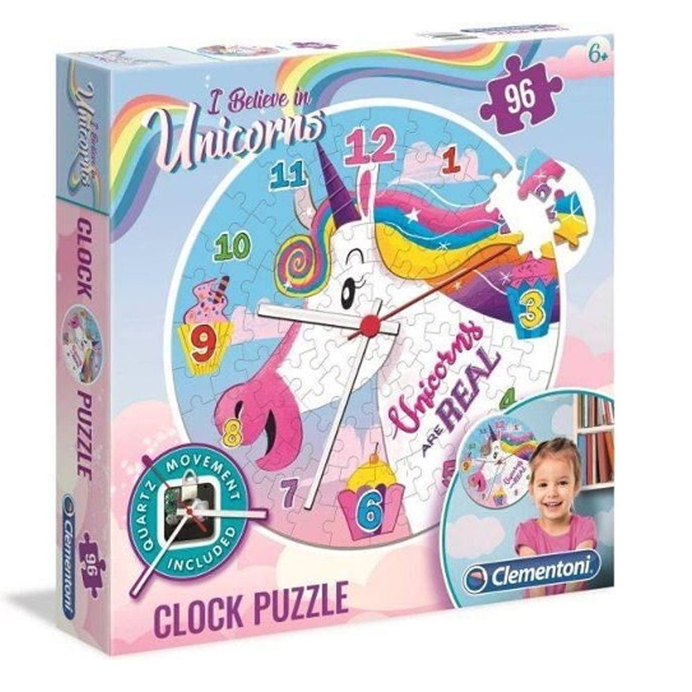Cuy Games - INFANTIL - 96 PIEZAS CLOCK PUZZLE UNICORNIO -