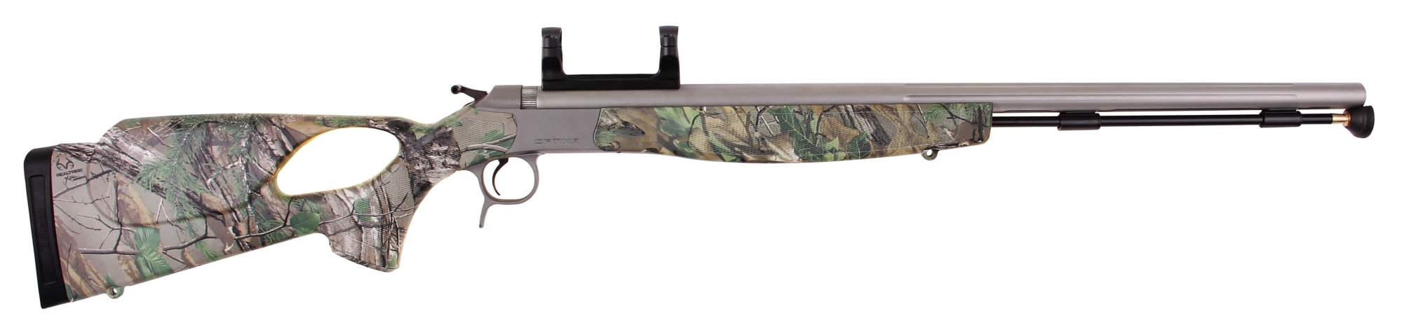 hight resolution of optima v2 realtree xtra green camo thumbhole stock stainless steel scope mount