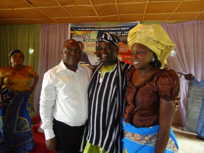 With the hosts,  Pastor Appendah and his wife during the thanksgiving service at The Full Gospel of Faith Christian Evangelical Ministry in Mu village
