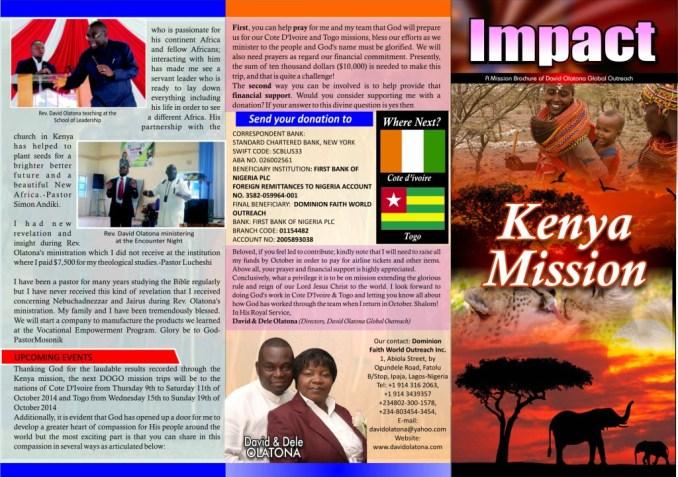 Kenya 2014 Mission E-Newsletter. Page 1