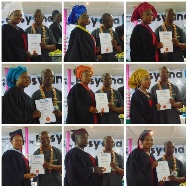 Comrade Iche presenting certificates to students graduating from the Events Decoration, Hairdressing & Make-up Classes