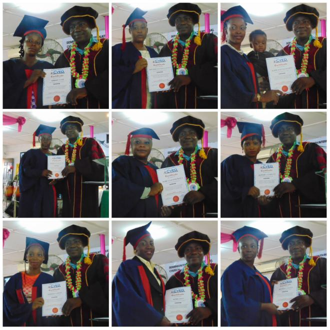 Pastor Olajide Esan presenting certificates to graduating students from the largest class this session - the Catering Class