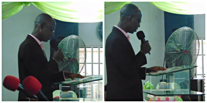The Registrar of CVED, Pastor Nicholas Uanikhoba during his speech, on behalf of Rev. David Olatona