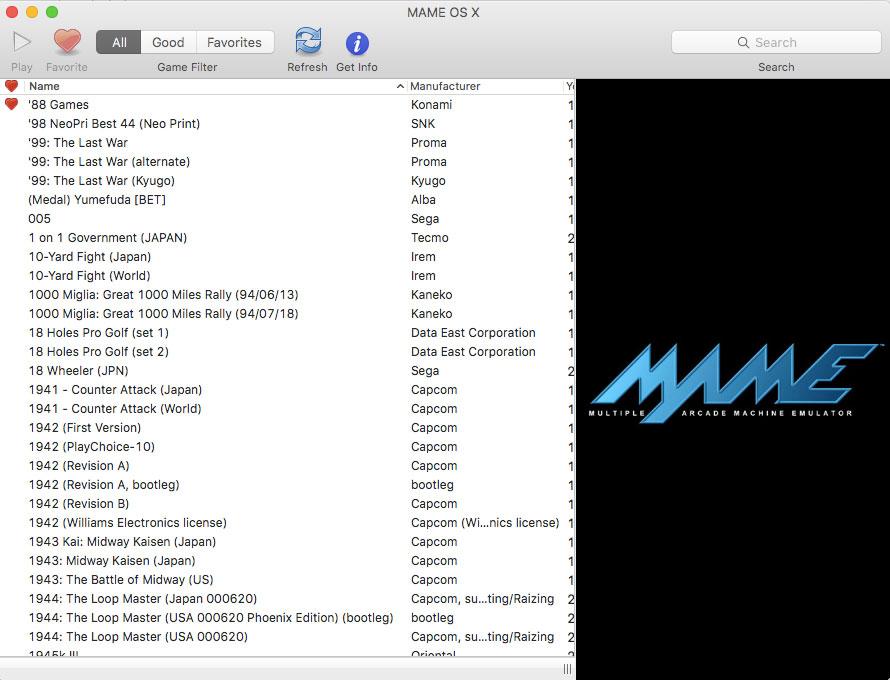 MAME OS X giả lập Arcade trên MacOS