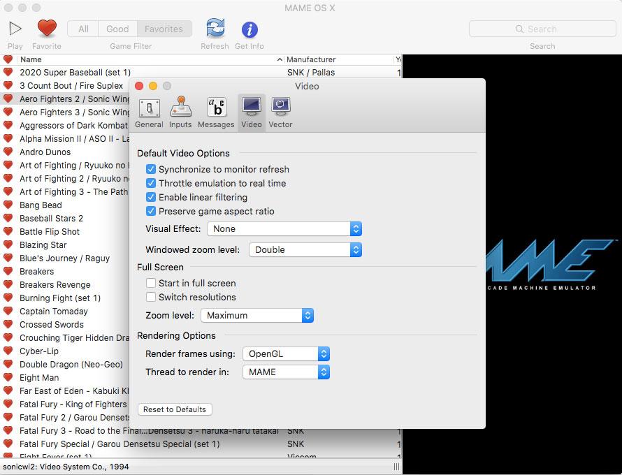 thiết lập video cho MAME OS X giả lập Arcade