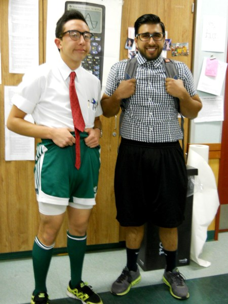 Khush Jawandha and Kenji Pinzon-Shigeta show off their pocket protectors for Athetles vs. Mathletes day.