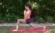 As you exhale, lower your back knee but not all the way. This gives you a good quad stretch.