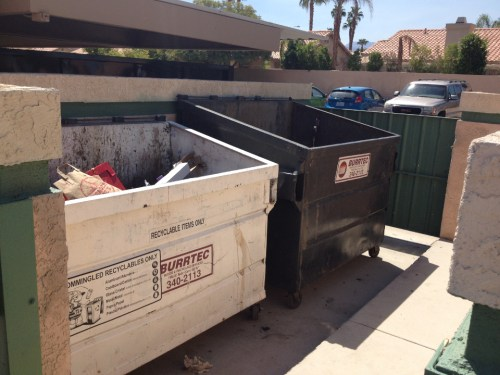 Desert Oasis, located on Country Club Drive in Palm Desert and one of the valley's apartment complexes, offers recycling via a Burrtec bin.