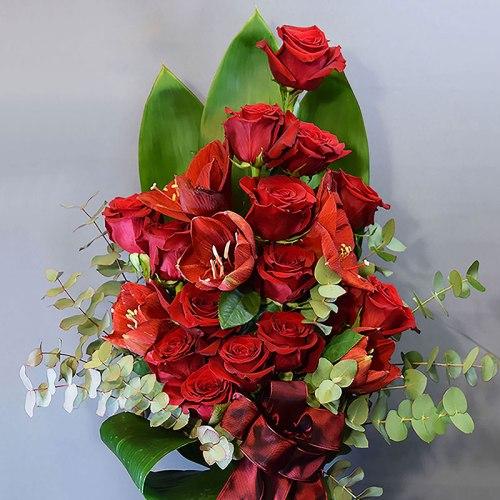 dostava-buket-cvijeća-amarilis-ruže