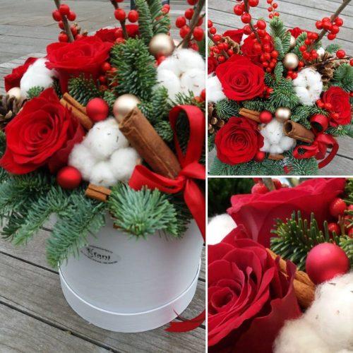 božićni flower box crveni
