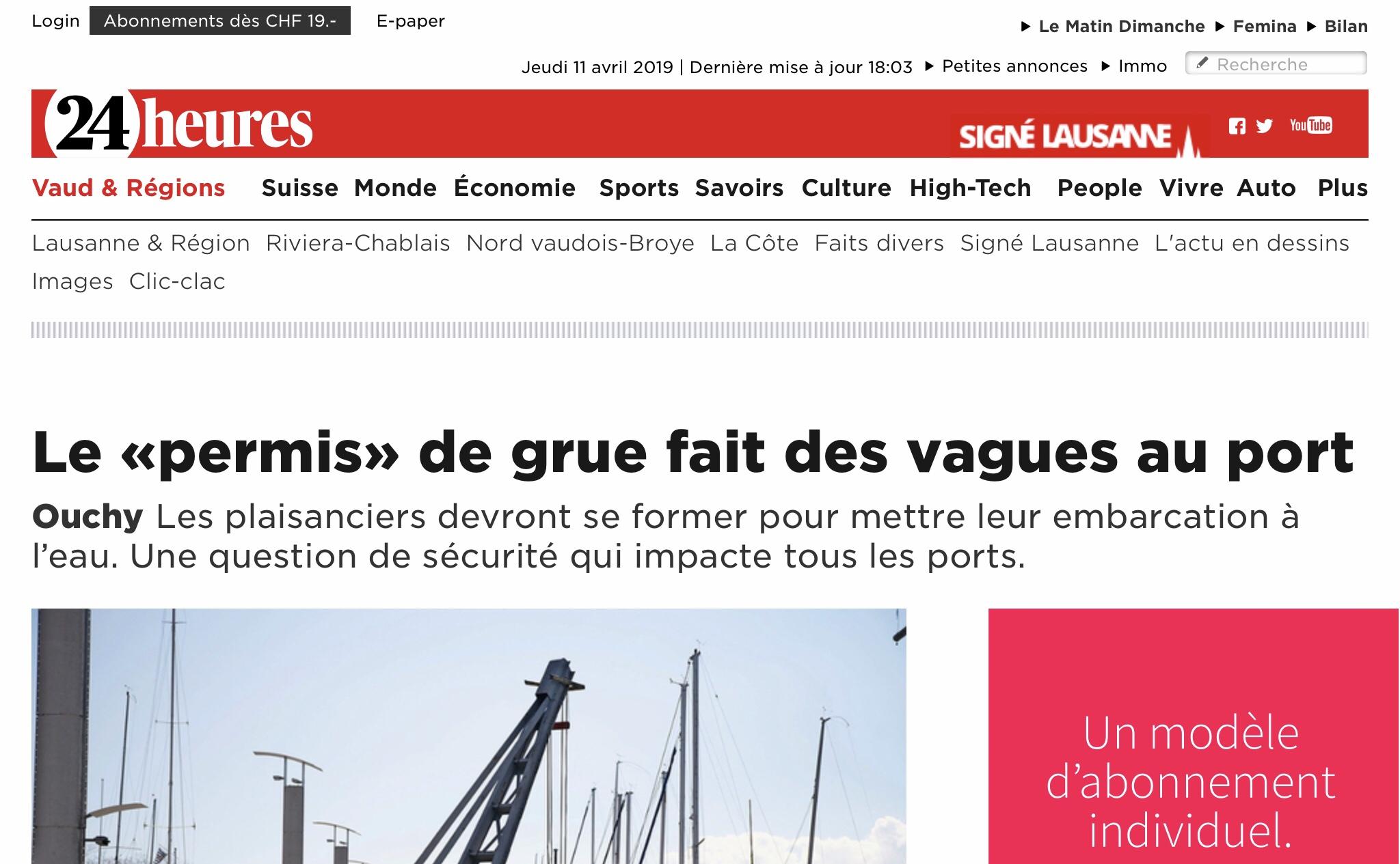 24heures: article sur la modification de réglementation des normes de grutage sur le port d'Ouchy