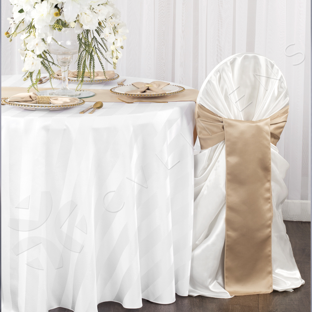 Champagne Chair Covers Universal Satin Self Tie Chair Cover White