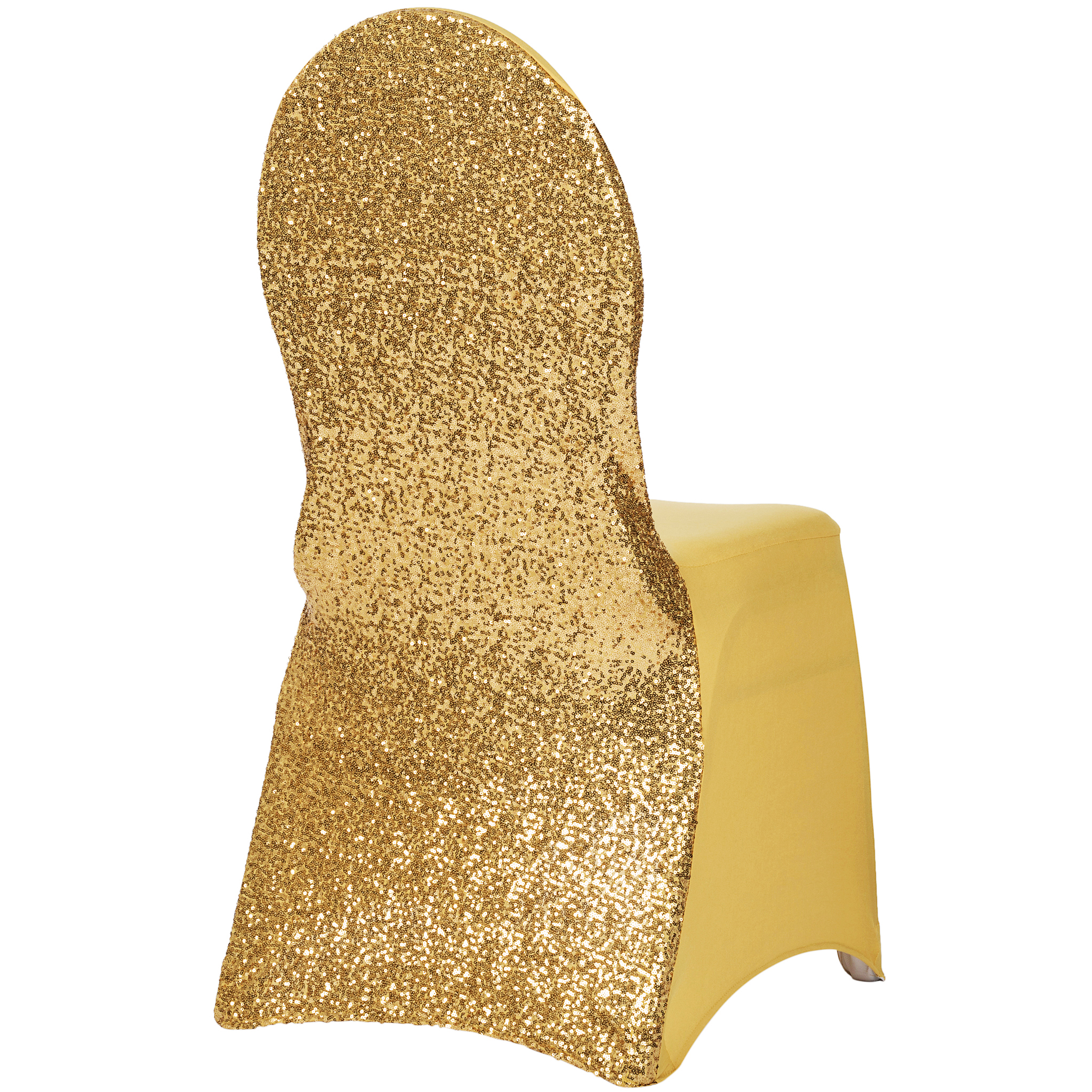 Yellow Chair Covers Glitz Sequin Stretch Spandex Banquet Chair Cover Gold