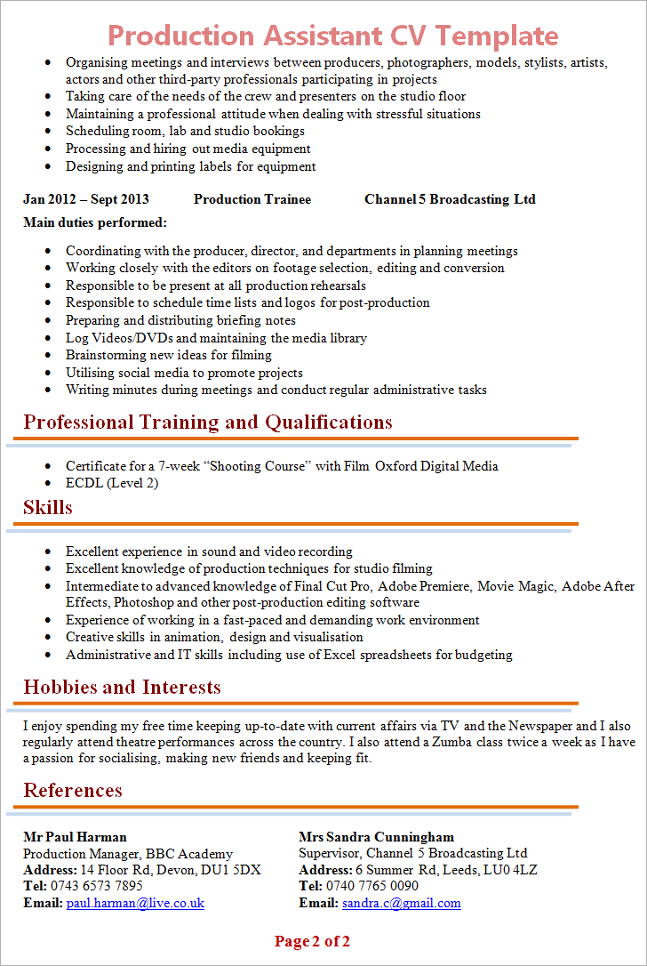 Production Assistant Cv Template Tips And Download Plaza