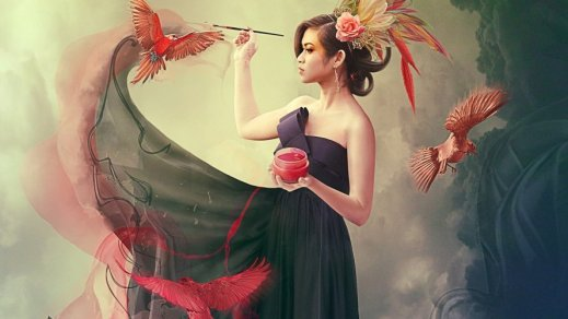 Волшебница рисует птиц