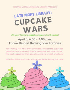 Late Night Library: Cupcake Wars @ Farmville and Buckingham Branches