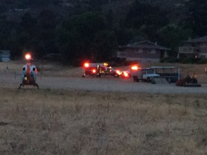 Emergency staging for CV road head-on collision