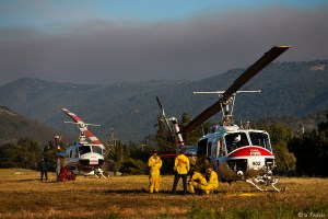 Helicopters on airfield with Cal-Fire