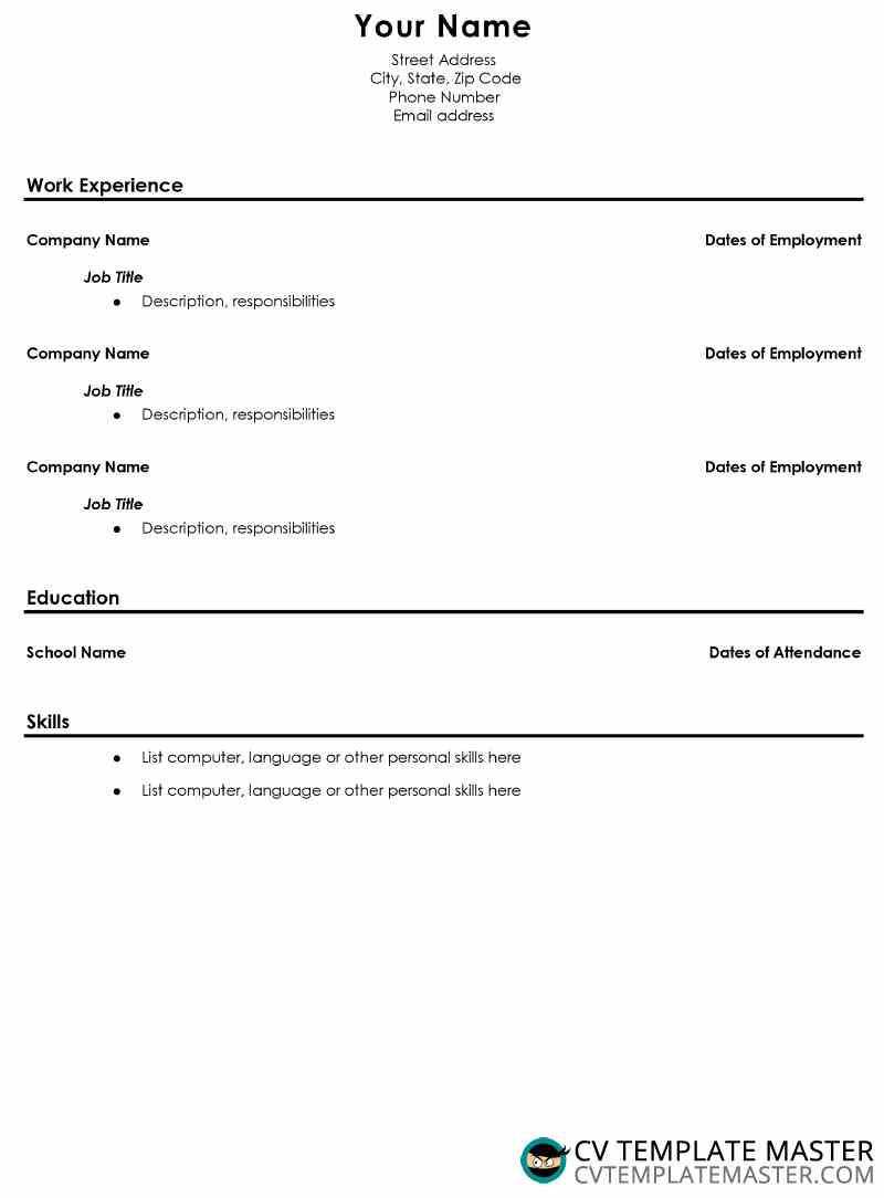 Free Basic Resume Template Free School Leavers Cv Template Cv Template Master