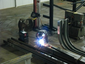 Attachments being welded to crane runway columns