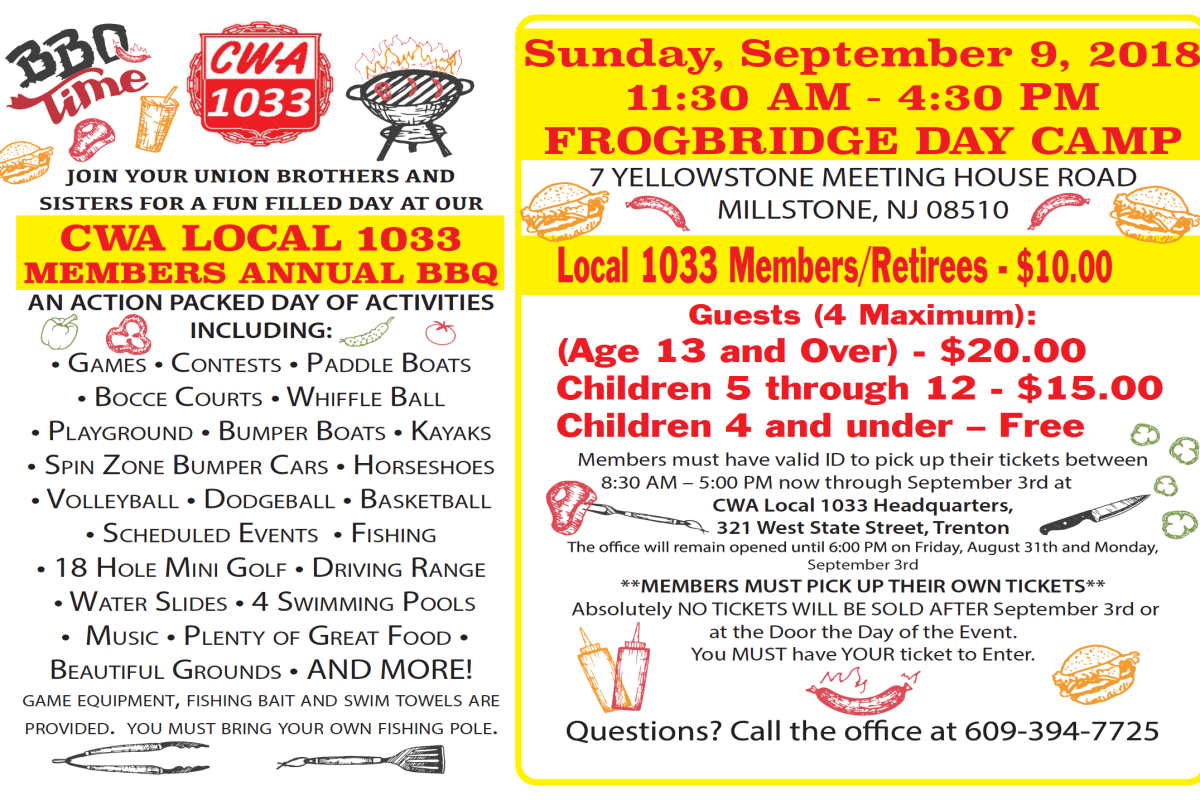 Tickets Available NOW! CWA Local 1033 Members Annual BBQ - September 9th