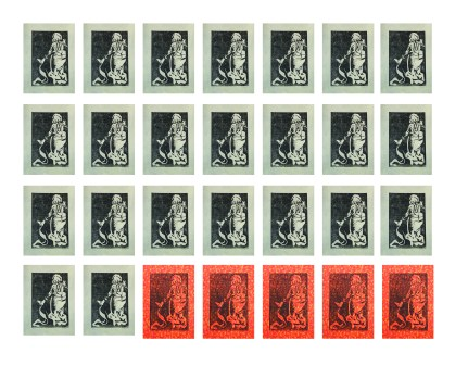 One month of prints (including Lady Time), soy-based ink on paper,2013.