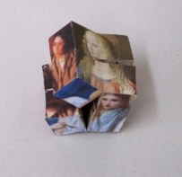 Madonna-Salome Cube, paper and wood hinged sculpture, two iterations, dimensions variable, 2013