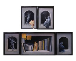 In the Beginning, hinged polyptych with custom wood frame, dimensions variable, 2012