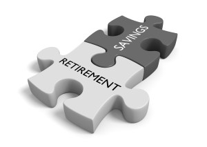 "Connected puzzle pieces labeled with the words ""retirement"" and ""savings""."