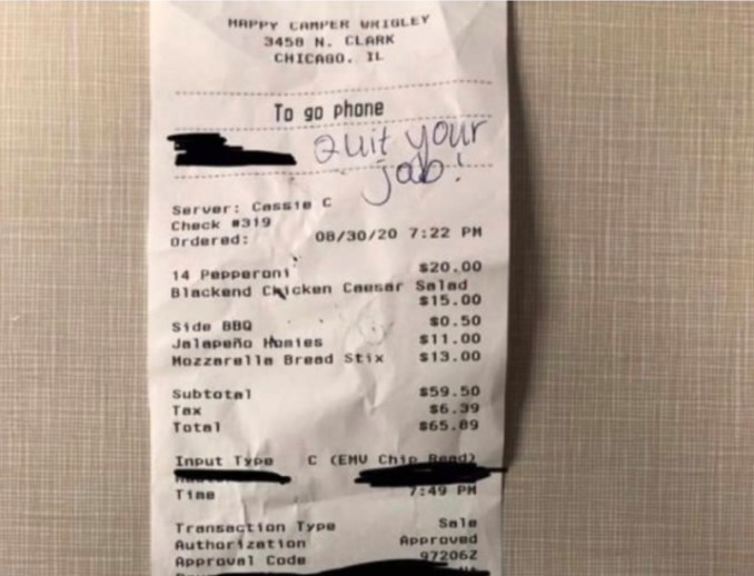 "Happy Camper fires worker after cop finds ""quit your job"" written on  receipt 