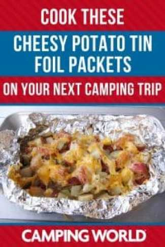 Cook these cheesy potato tin foil packets directly on the coals