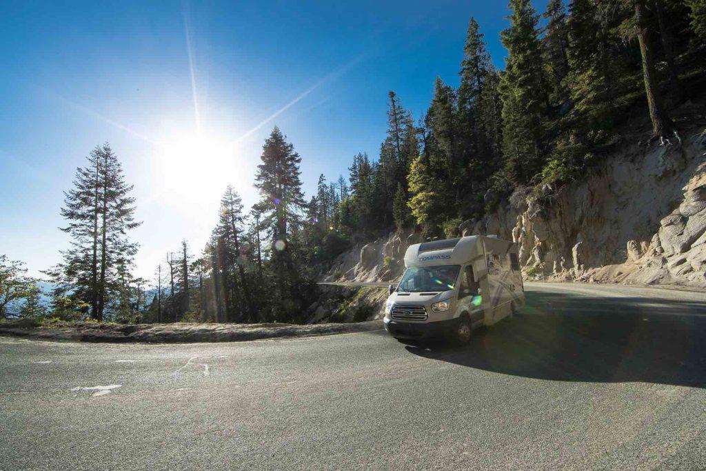 motorhome on winding mountain road
